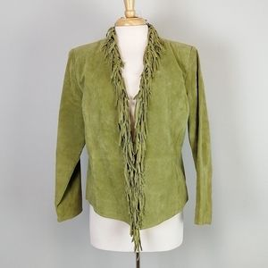 Dialogue Fringed Leather Jacket Green Size S